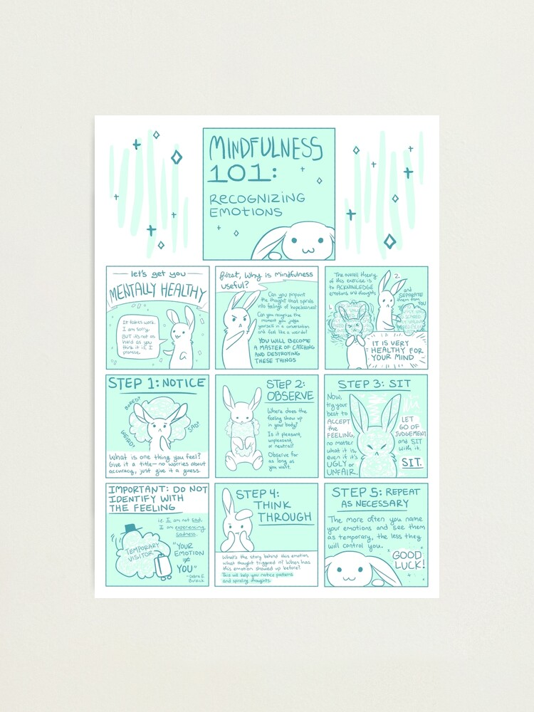 Alternate view of Let's Get You Mentally Healthy: Mindfulness 101 Bunny Comic Photographic Print