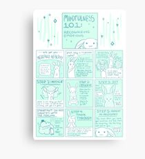 Let's Get You Mentally Healthy: Mindfulness 101 Bunny Comic Metal Print