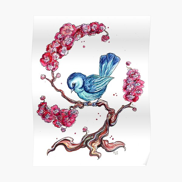 Blue Bird with Cherry Blossoms Poster