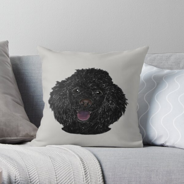 Cute Black Beautiful Poodle Puppy 02 Throw Pillow