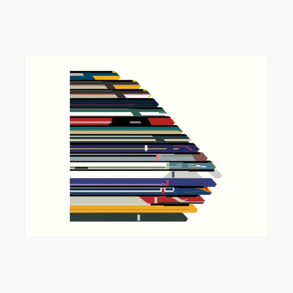 Intercity 125 outline in liveries  Art Print