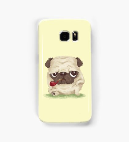 Pug which held the pipe in its mouth Samsung Galaxy Case/Skin