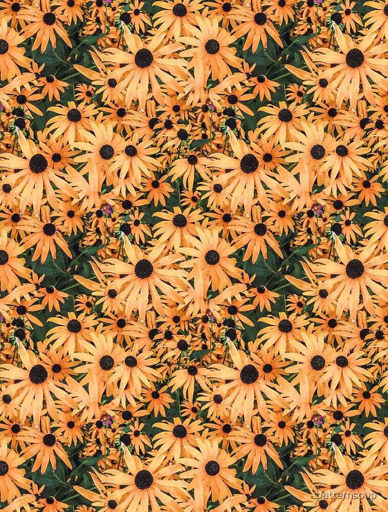 Orange Vintage Photo Flower Pattern by patternsoup