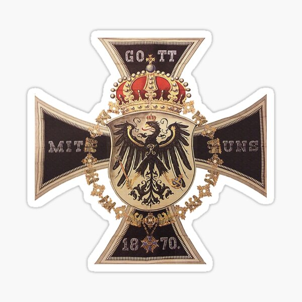 German 1870 Gott mit Uns Iron Cross Sticker