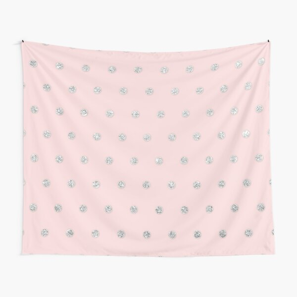 Girly Glamorous Pink Silver Glitter Polka Dots Tapestry