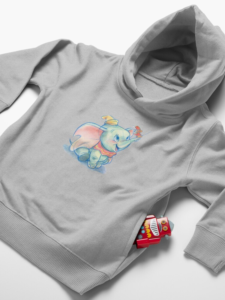 Alternate view of Dumbito skecth Toddler Pullover Hoodie