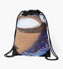 Sassy Girl Blue and White Drawstring Bag