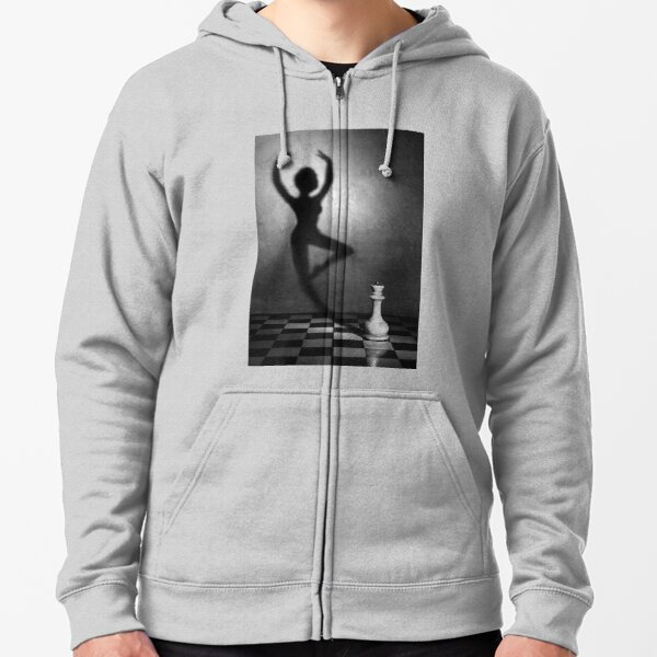 Chess, #monochrome #chess #people #black and white shadow adult art concentration vertical strategy naked Zipped Hoodie