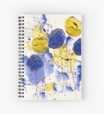 Blue and Gold Splotch Flowers Spiral Notebook