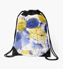 Blue and Gold Splotch Flowers Drawstring Bag