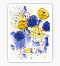 Blue and Gold Splotch Flowers Sticker
