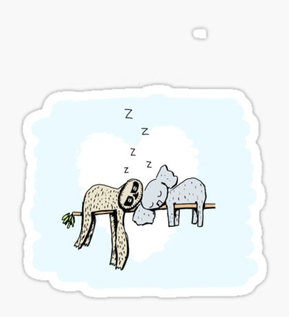 Koala and Sloth Sleeping Glossy Sticker