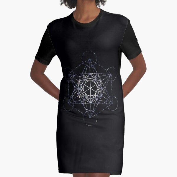 Metatron's Cube Star Cluster - Sacred Geometry Graphic T-Shirt Dress