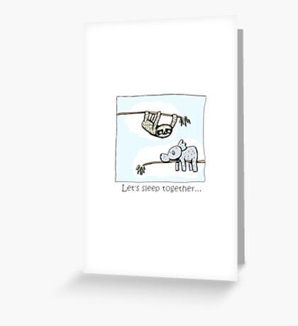 Koala and Sloth - Sleep Together Greeting Card