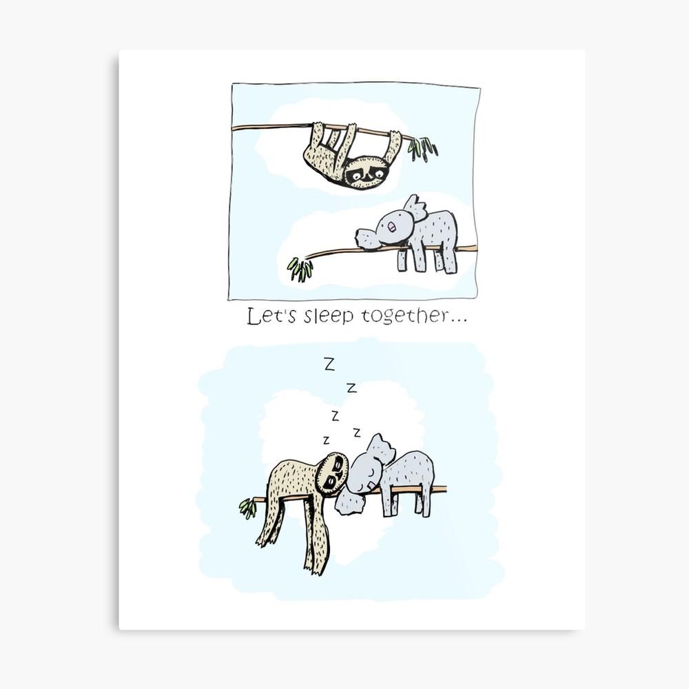 Koala and Sloth - Sleeping Together Cartoon Metal Print