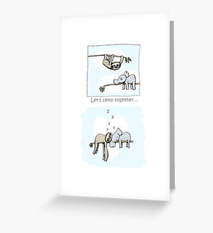 Koala and Sloth - Sleeping Together Cartoon Greeting Card