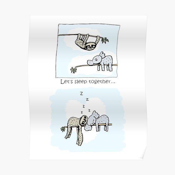 Koala and Sloth - Sleeping Together Cartoon Poster