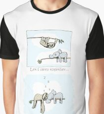 Koala and Sloth - Sleeping Together Cartoon Graphic T-Shirt