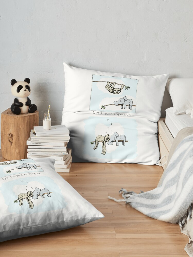 Alternate view of Koala and Sloth - Sleeping Together Cartoon Floor Pillow
