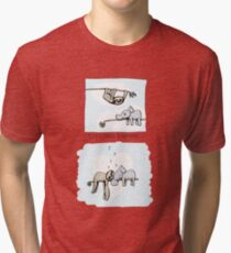 Koala and Sloth - Sleeping Together Cartoon Tri-blend T-Shirt