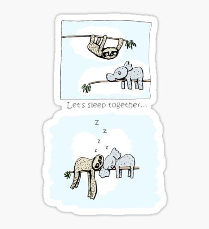 Koala and Sloth - Sleeping Together Cartoon Sticker
