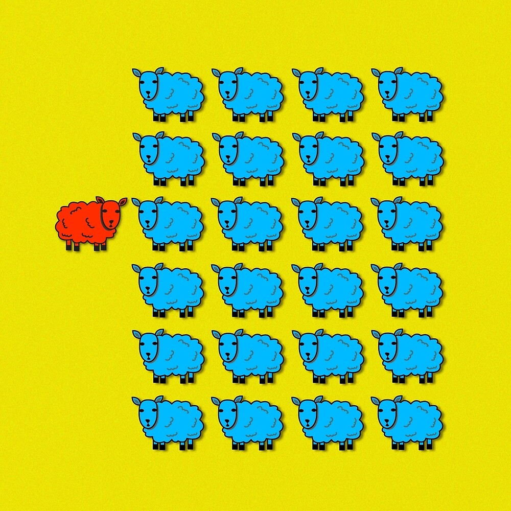 Red sheep, blue flock by Thisis notme