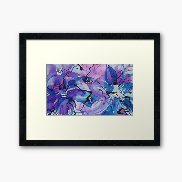 Floral Extravaganza on Silk Framed Art Print