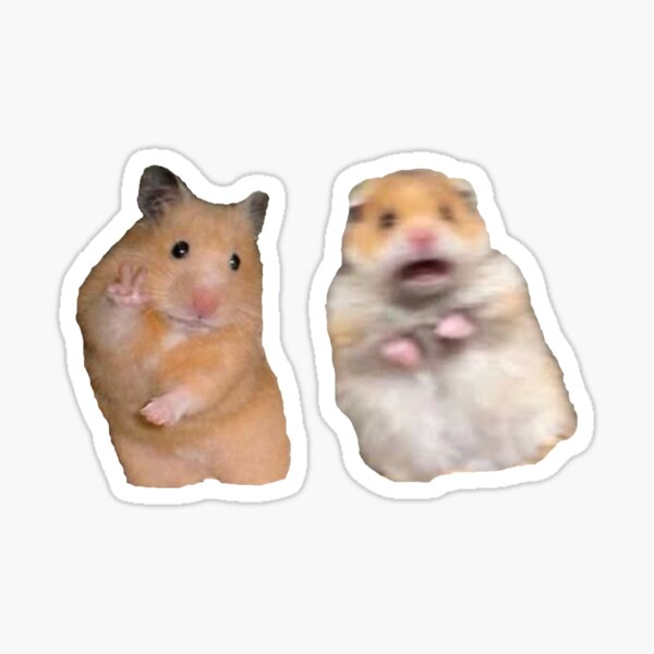 Peace Sign and Screaming Hamster Sticker