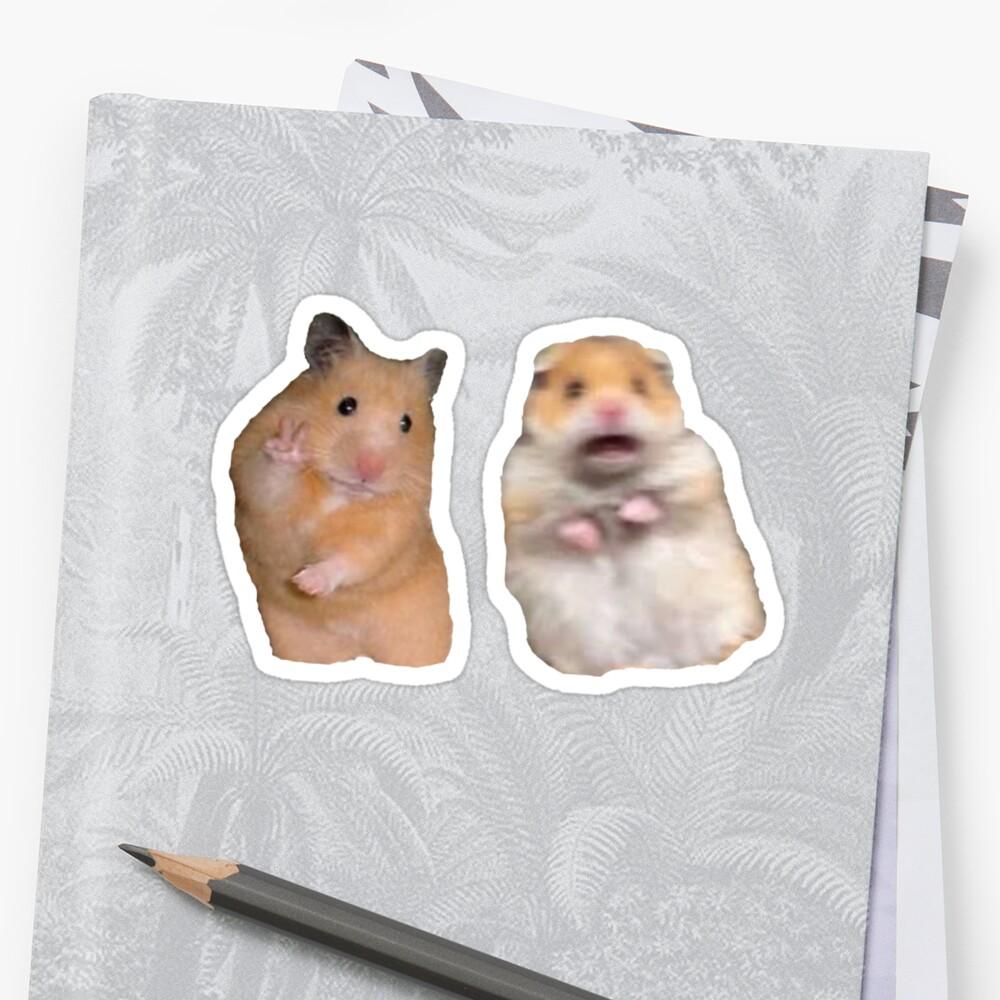 Signo de la paz y Hamster gritando Pegatina