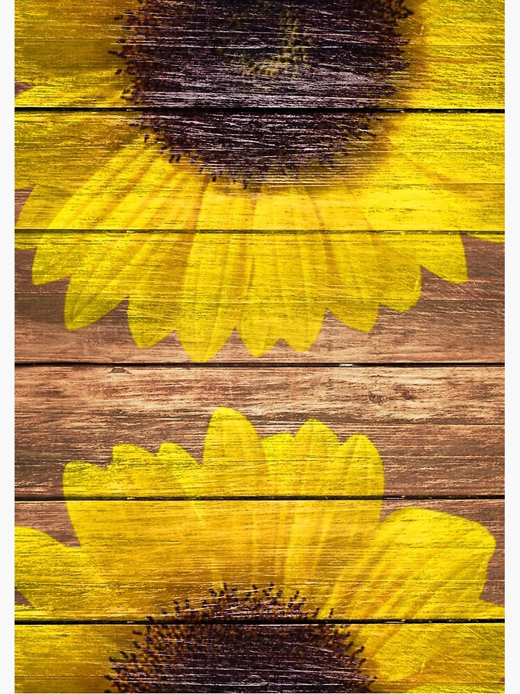 Yellow Sunflowers Rustic Vintage Brown Wood by GirlyTrend