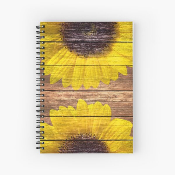 Yellow Sunflowers Rustic Vintage Brown Wood Spiral Notebook