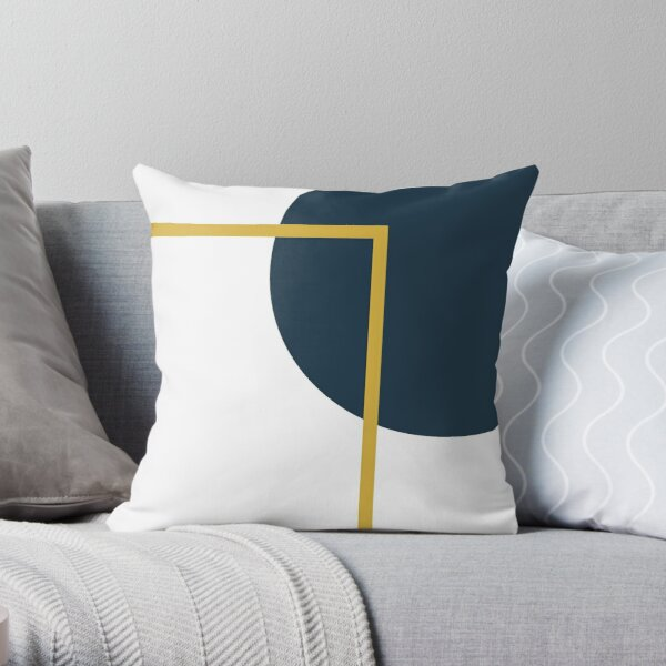 Abstract Geometric Minimalist Navy Blue, Light Mustard Yellow, and White Throw Pillow