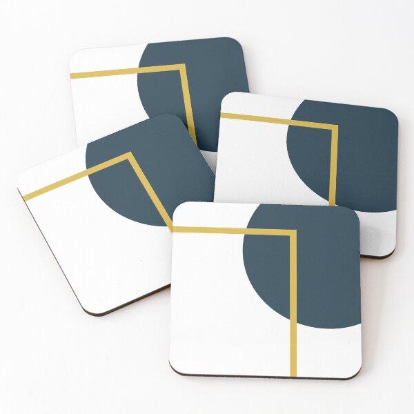 Abstract Geometric Minimalist Navy Blue, Light Mustard Yellow, and White Coasters (Set of 4)