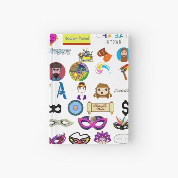 #Purim #Jewish #holiday clip art, collection, illustration, vector, symbol, sketch, cute, design, merchandise, industry, group of objects, arranging, no people, variation, square, arrangement Hardcover Journal