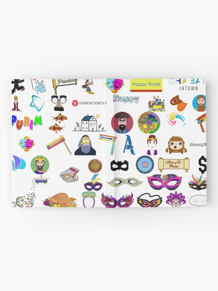 Alternate view of #Purim #Jewish #holiday clip art, collection, illustration, vector, symbol, sketch, cute, design, merchandise, industry, group of objects, arranging, no people, variation, square, arrangement Hardcover Journal