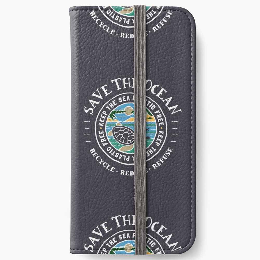 Save The Ocean Keep the Sea Plastic Free Turtle Scene iPhone Wallet