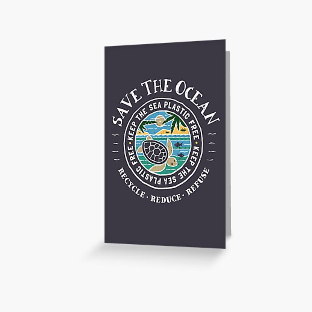 Retten Sie den Ozean Halten Sie das Meer Plastikschildkröten-Szene frei Grußkarte