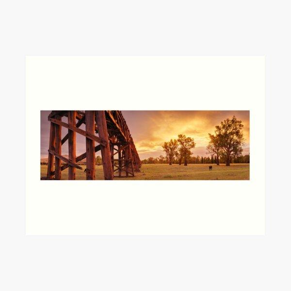 Gundagai Railway Bridge Sunset, New South Wales, Australia Art Print