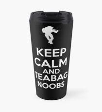 Keep Calm And Teabag Noobs - White Travel Mug