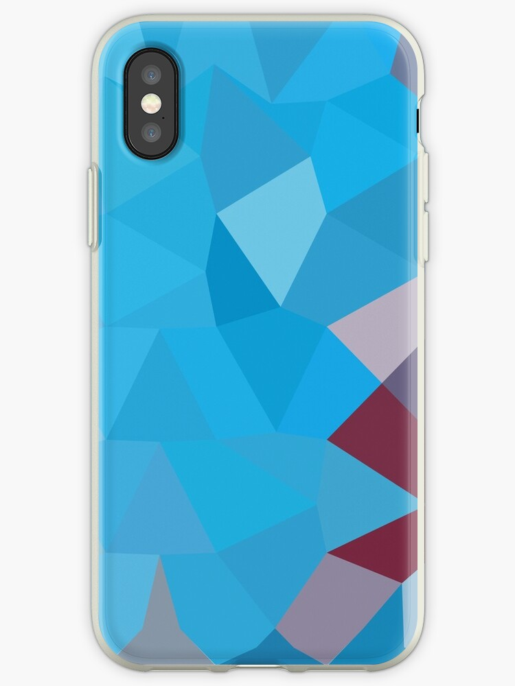 Cerulean Frost Blue Abstract Low Polygon Background by retrovectors