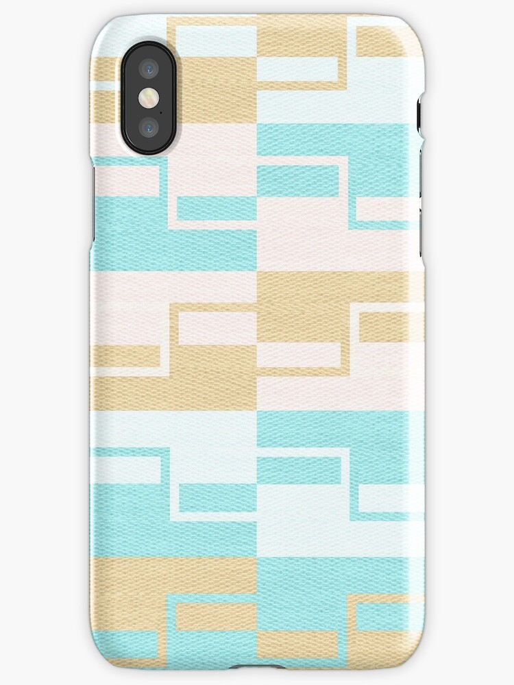 Abstract pastel aqua gold geometric pattern by Maria Fernandes