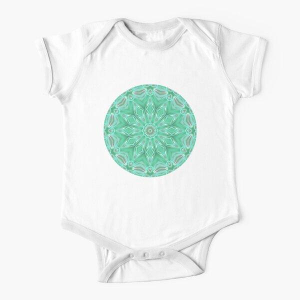Mint Green Star Flower Short Sleeve Baby One-Piece