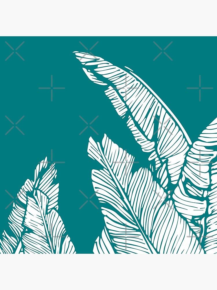 Teal Banana Leaf Pattern Pillow by gregs-celeb-art