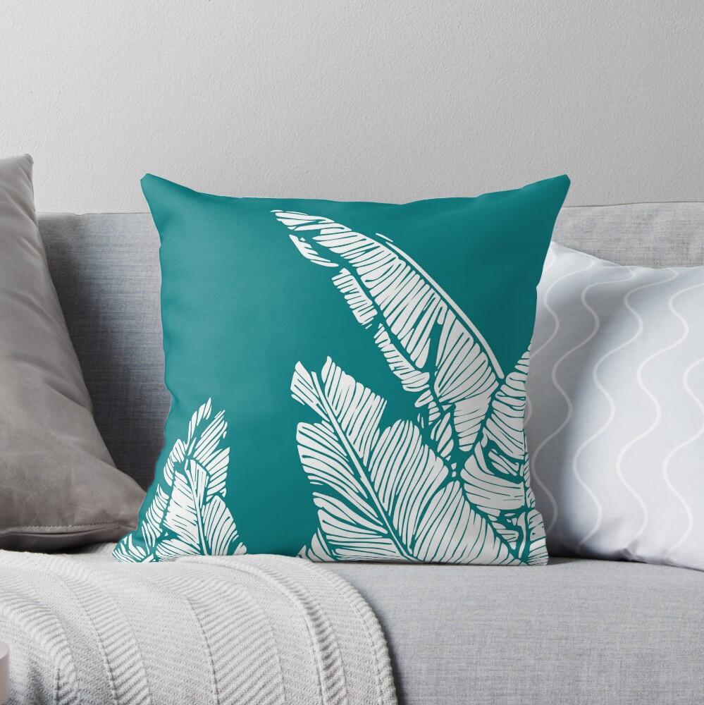 Teal Banana Leaf Pattern Pillow Throw Pillow