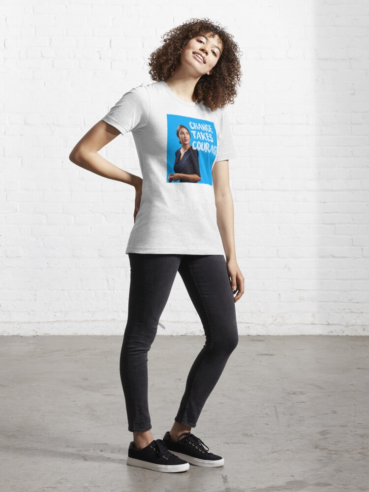 Alternate view of AOC Alexandria Ocasio-Cortez Change takes Courage Essential T-Shirt