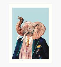 Elefant Blau Kunstdruck