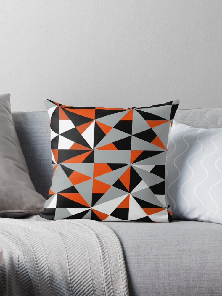 Funky Modern Orange Black White Grey Geometric Abstract Shapes