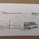 Landrover Defender in Studland Beach, Dorset von AndyKnillArt