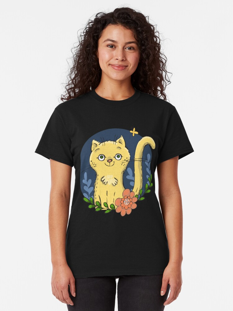 Alternate view of Happy Kitty in the Garden Classic T-Shirt