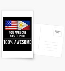 50% American 50% Filipino 100% Awesome - Philippines Flag Gift For Filipino Postkarten
